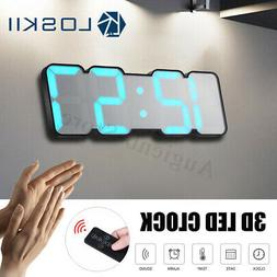 Loskii 115 Color LED 3D Digital Desk Wall Clock Thermometer
