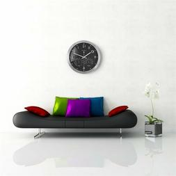 12 inch metal frame round wall clock