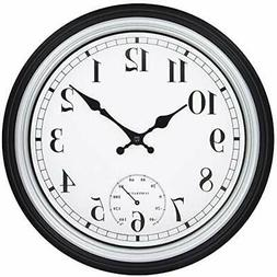 12-Inch Retro Outdoor Wall Clock With Thermometer, Silent No