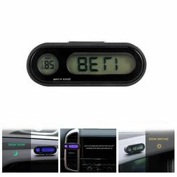 2 In 1 Clip-on Large Digital LCD Thermometer Clock For Car B