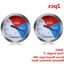 2pcs 300℃ 2'' Steel Barbecue BBQ Smoker Grill Thermometer