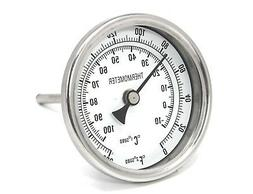 """CONCORD 3"""" 304 Stainless Steel Thermometer Glass Dial Brew K"""