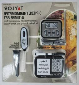 Taylor 3 Piece Digital Thermometer And Timer Set Brand New F