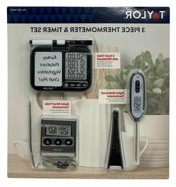 NEW Taylor 3 Piece Thermometer /& Timer Set