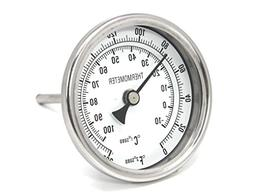 "CONCORD 3"" Stainless Steel Thermometer for Home Brewing"