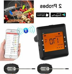 2Probes Wireless Bluetooth BBQ Meat Thermometer Food Cooking