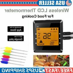 6 Probes Wireless Bluetooth BBQ Meat Thermometer Food Cookin