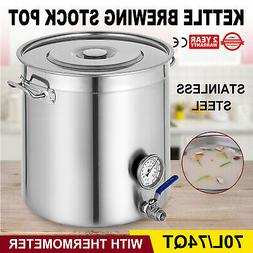 74 QT Kettle Brewing Stock Pot with Thermometer Stainless St