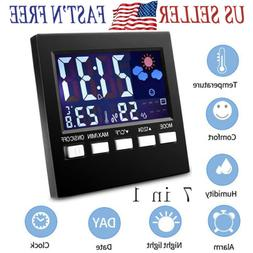 7in1 Thermometer Hygrometer Digital LCD Temperature Monitor