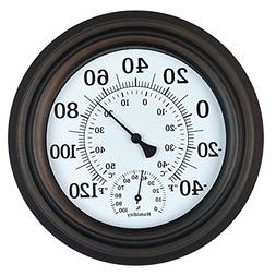 """8"""" Indoor Outdoor Thermometer/Hygrometer for Patio Wall or D"""