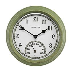 AcuRite 02470 Rustic Green Outdoor Clock with Thermometer, 8