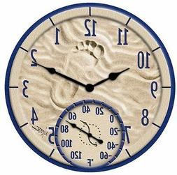 """Taylor - 14"""" By the Sea Poly Resin Clock with Thermometer"""