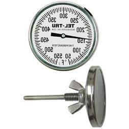 Tel-Tru BQ225 Barbecue Pit Thermometer, 2 inch dial and 2-1/