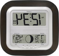 Atomic Digital Wall Clock with Moon Phase and Indoor/Outdoor