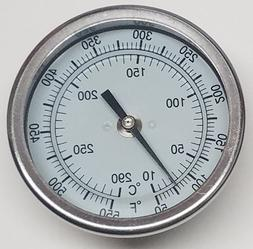 """Pit Boss BBQ Grill Smoker Thermometer Gauge 3"""" Dial 2.5"""" Ste"""
