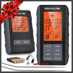 Best Digital Wireless Remote Meat Cooking Thermometer 2 Prob