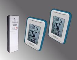Blue Trim Dual Display Wireless Indoor/Outdoor Thermometer M