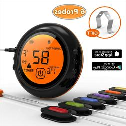 Bluethooth Wireless Smoker BBQ Grill Meat Thermometer with A