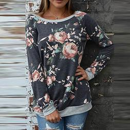 Wffo Womens Casual Floral Splicing O-Neck T-Shirt Blouse Swe