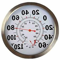 Classic 12 Inch Large Outdoor Thermometer/Steel Housing Indo