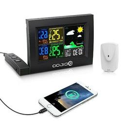 Color Digital Lcd Weather Station Wireless Calendar Thermome