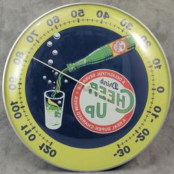 """CHEER UP DELIGHTFUL BEVERAGE THERMOMETER 12"""" ROUND GLASS D"""
