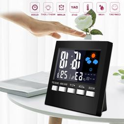 Digital Alarm Clock Thermometer Humidity Colorful LCD Calend