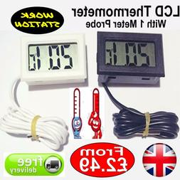 Digital LCD Fridge Room Thermometer With Probe for Freezers