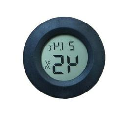 Digital LCD Indoor Outdoor Round Thermometer Humidity Black