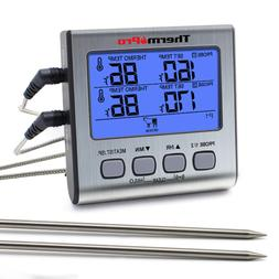tp17 digital lcd meat food thermometer dual