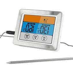 """Digital Meat Thermometer Food Oven Safe Timmer With 3.2"""" Lar"""