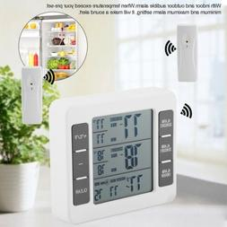 Wireless Digital Audible Alarm Refrigerator Thermometer W/ 2