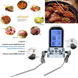 Digital Wireless Remote Dual 2 Probes Cooking Food Meat Oven