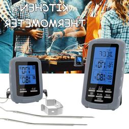 Dual Probe Wireless Meat Oven BBQ Thermometer Remote Instant