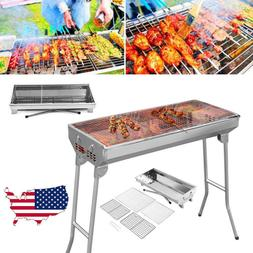 Fold Barbecue Charcoal Grill Stove Shish Kabob Stainless Ste