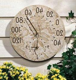 Fossil Leaf All-In-One 14.5 in. Outdoor Wall Clock