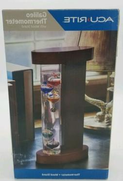 AcuRite Galileo Glass Thermometer with Wood Stand Home Outdo