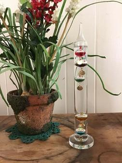 Galileo Liquid Room Thermometer 17 Inches Tall Clear Glass