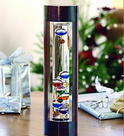 Galileo Thermometer with Cherry Finish Wood Frame