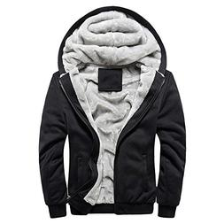 Wffo Mens Hoodie Winter Warm Fleece Zipper Sweater Jacket Ou