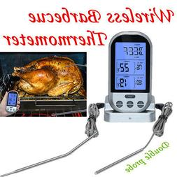 Hot Double Probe Wireless LCD Remote Thermometers BBQ Grill