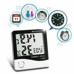 Indoor LCD Clock Temperature Humidity Weather Meter Hygromet