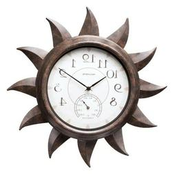 AcuRite Indoor/Outdoor Bronze 19 in. Sun Clock with Thermome