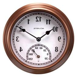 AcuRite Indoor/Outdoor Bronze Thermometer with Clock Brand N