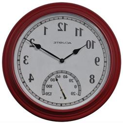 Indoor Outdoor Red Wall Thermometer Clock Weather Resistant