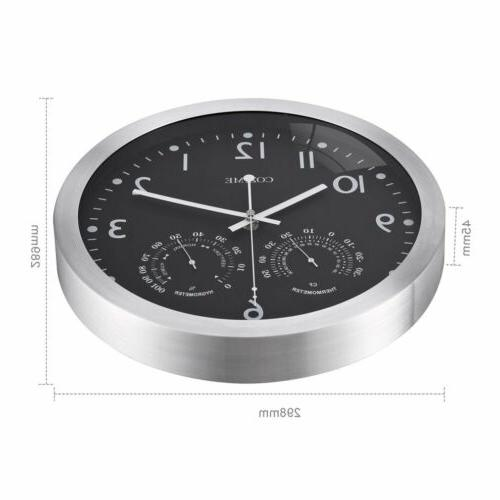 12 Metal Round Wall Clock With Thermometer Display EK