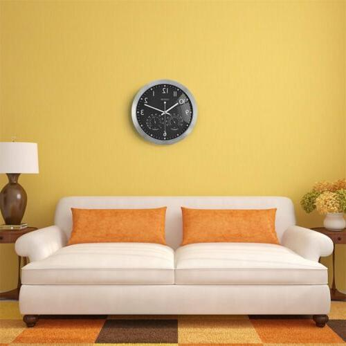 12 Inch Frame Round Wall Clock With Thermometer