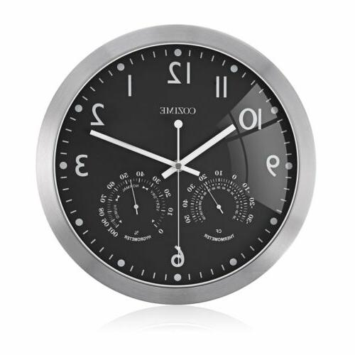 12 Round Wall Clock With Thermometer Hygrometer Display EK