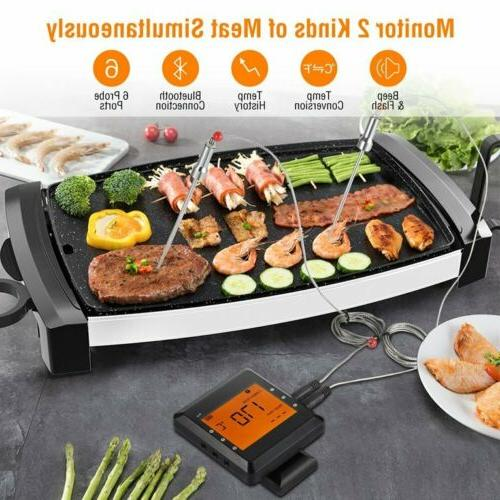 2 Probes Wireless Bluetooth BBQ Thermometer Oven Grill