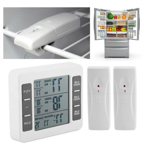 2 Sensors Wireless Digital Freezer Alarm Thermometer Fridge